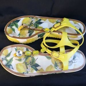 Dolce and Gabbana Jeweled Lemon Print Platform